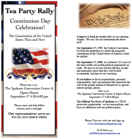 Flier for a rally on Constitution Day